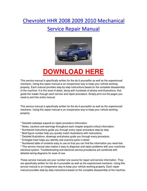 how to download repair manuals 2009 chevrolet hhr security system chevrolet hhr 2008 2009 2010 mechanical service repair manual by chevroletservice issuu