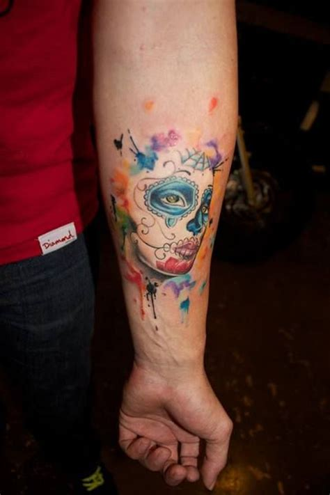 la catrina mexicana en acuarelas tatuajes para