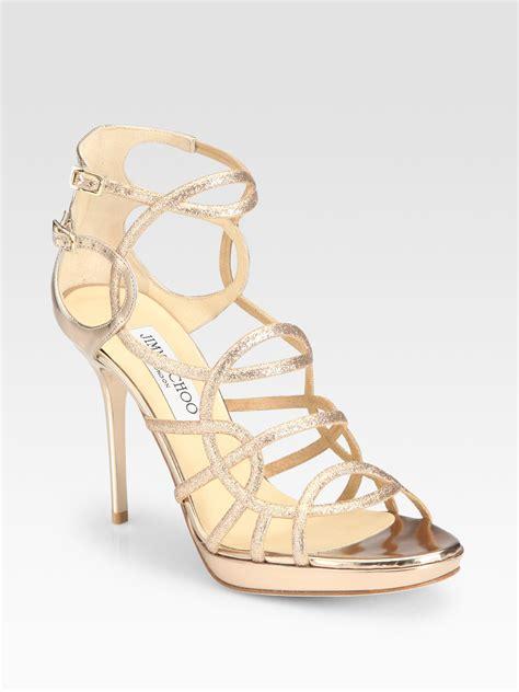 jimmy choo gold sandals jimmy choo bode glitter platform sandals in gold lyst