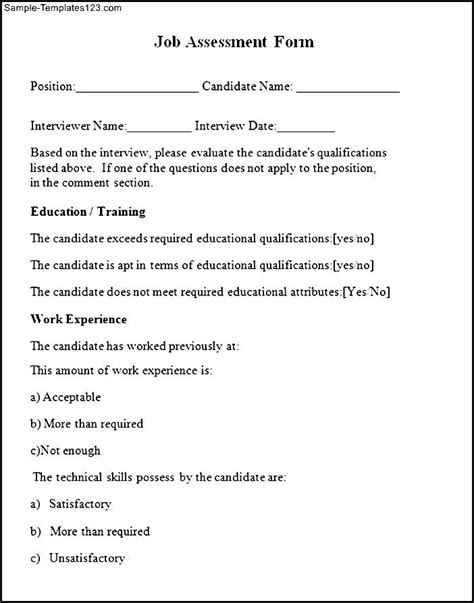 sle job assessment form sle templates