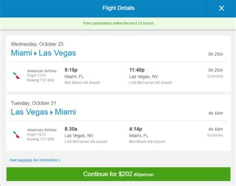 american  miami las vegas  vice versa roundtrip including  taxes  flight