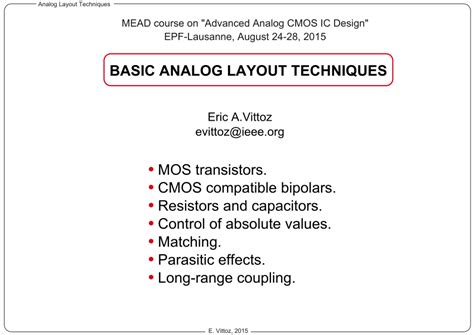 cmos layout design techniques basic analog layout techniques pdf download available