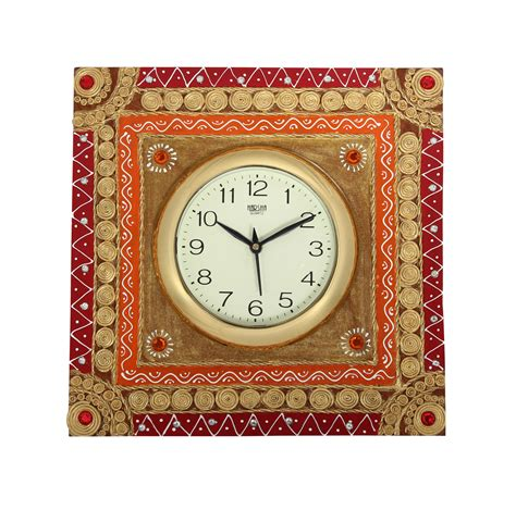 Handcrafted Wall Clocks - craftszilla handcrafted rajasthani wooden wall clock