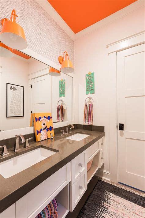 grey orange bathroom white and grey bathroom transitional bathroom frazee