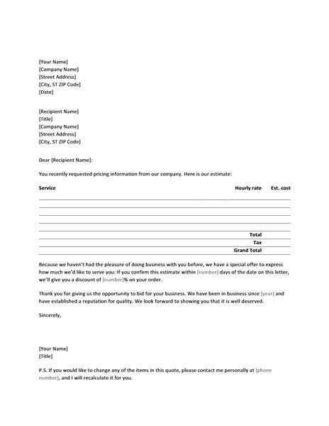 Service Fee Quotation Letter letter with service price quote for new customer office