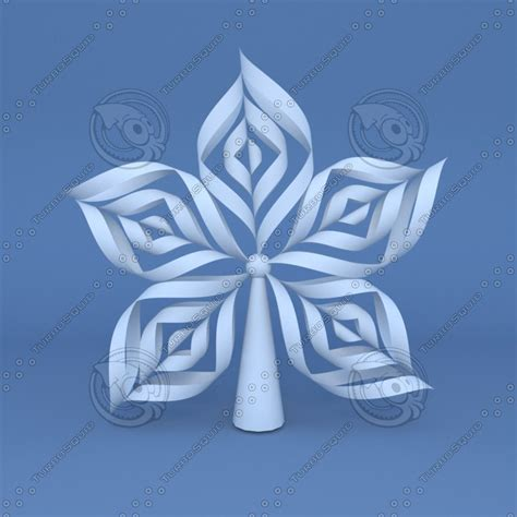 Origami Snow - 3d model origami snowflake tree topper