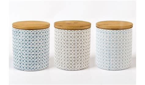 Kitchen Canisters Asda George Home Geometric Canister Set With Bamboo Lid