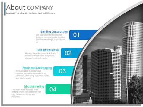 free templates for construction company construction company profile powerpoint template design