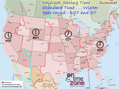 map of us time zones during daylight savings ontimezone time zones for the usa and america