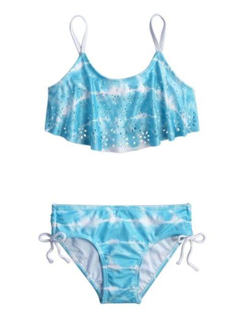 tie dye cutout flounce swimsuit print inspiration