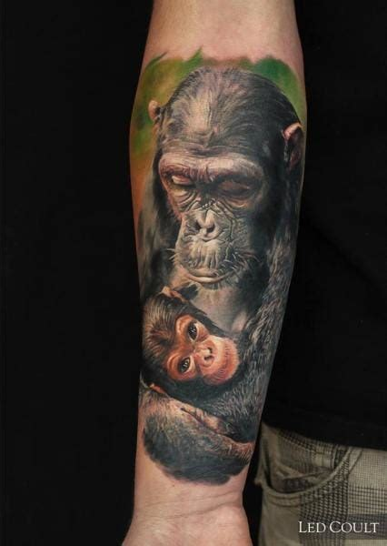 kelvin tattoo family grey flower and chimpanzee tattoo on arm sleeve by kelvin