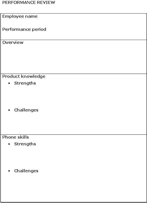 performance review template sle business templates