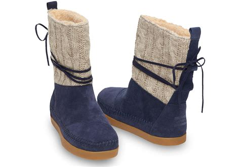 toms navy cable knit suede s nepal boots in blue lyst