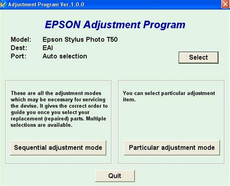 reset epson t50 by orthotamine resetter epson t50 printer tools