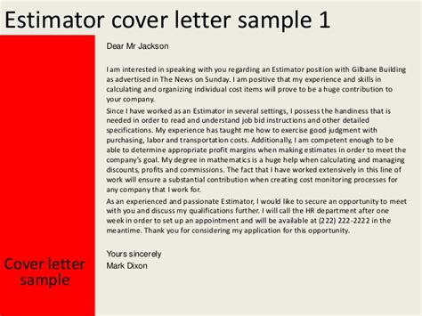 Estimator Cover Letters by Estimator Cover Letter