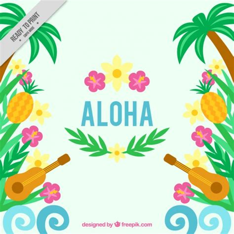 fiori hawaiani hawaiian background with ukulele and flowers vector free