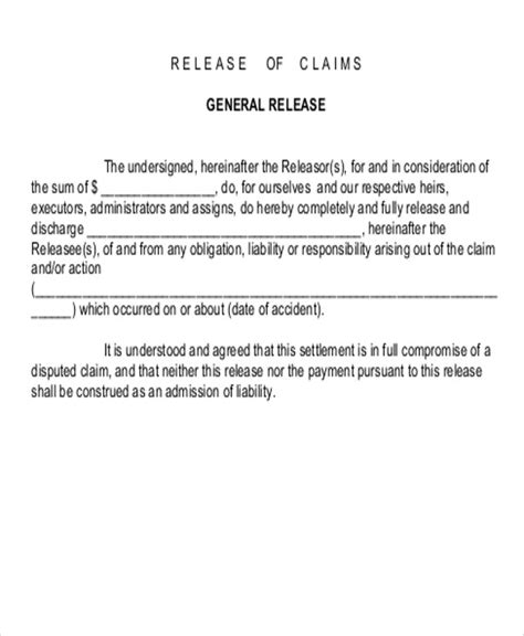 8 Sle Accident Release Forms Sle Templates Release Of Claims Template