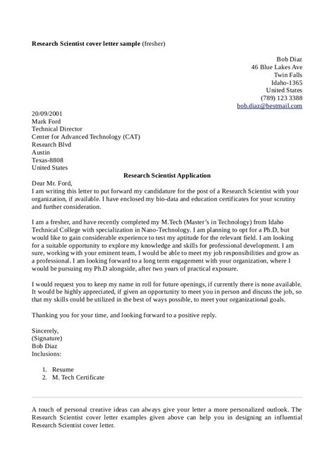 Cover Letter For Principal Scientist cover letter research scientist choice image cover
