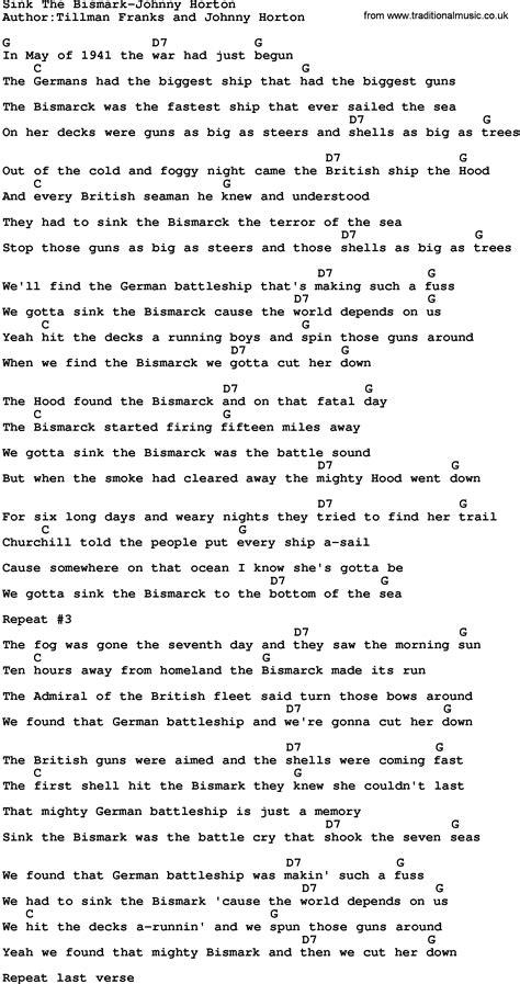 Johnny Horton Sink The Bismarck Lyrics country sink the bismark johnny horton lyrics and chords