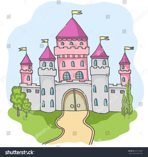 Home Design Story Free Game by Hand Drawn Cartoon Fairy Tale Castle Stock Vector