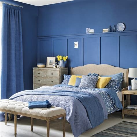 indigo blue bedroom bedroom with indigo blue walls and cream and yellow