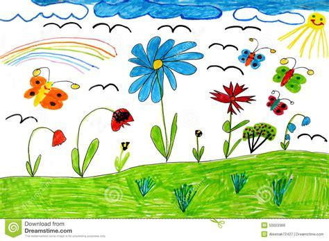tekening vlinder met bloem de tekening van kinderen met vlinders en bloemen stock