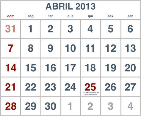 Calendario De Abril Calend 225 Abril 2013 Para Imprimir