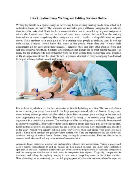 Creative Essay Editor Services by Essay Editing Company