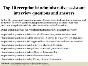 Front Desk Receptionist Interview Questions Top 10 Receptionist Administrative Assistant Interview