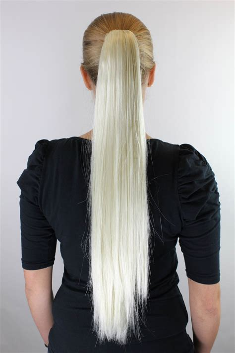 Hairclip Smoothing 65cm extensions hair platinum ponytail clip smooth 65cm xf 6464 613 ebay