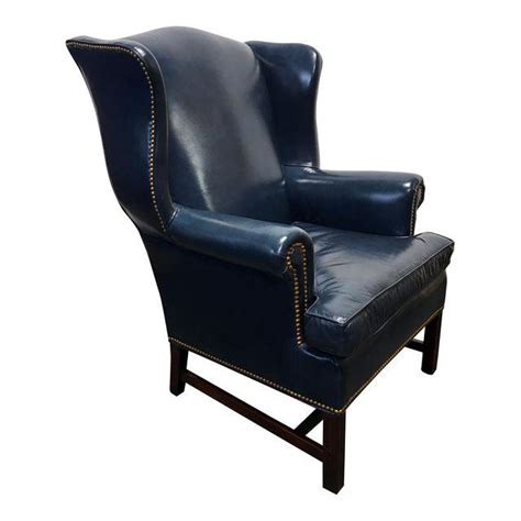 navy blue leather wingback chair hancock navy blue leather chippendale wing chair