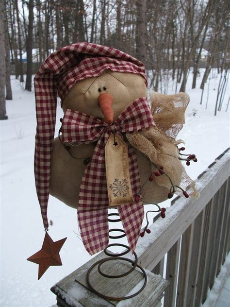 primitive country snowman tree topper pin by quirion on just primitive primitive snowmen and