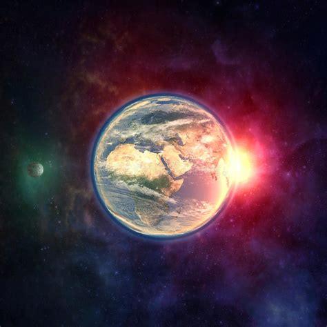 ilustraciones de vectores de sol tierra luna espacio tierra del planeta en espacio exterior con la luna la
