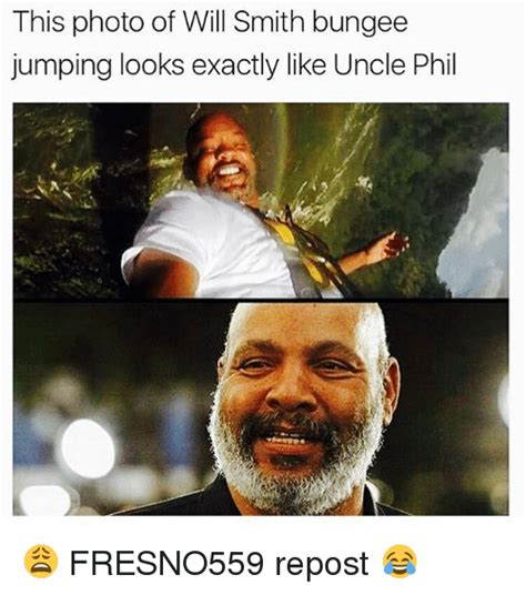 Uncle Phil Meme - this photo of will smith bungee jumping looks exactly like
