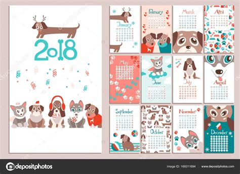 creative calendar 2018 with puppies stock vector