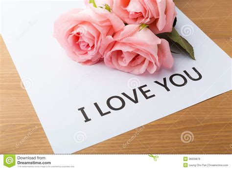 I Love Gift Cards - pink rose and gift card of message i love you royalty free