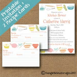 kitchen shower invitation and recipe cards combo pack diy