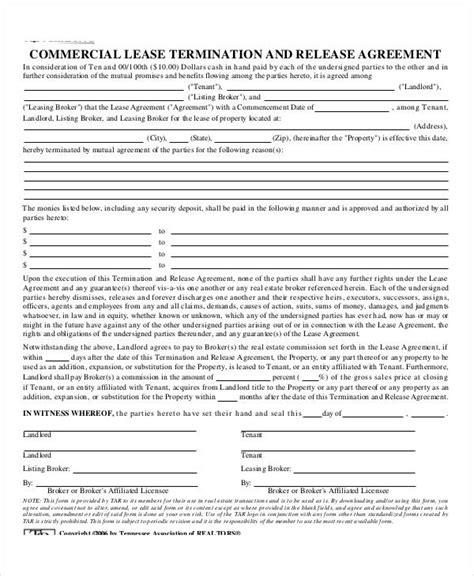 Commercial Lease Termination Agreement by Lease Agreement Form Template