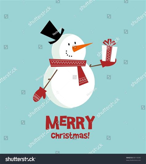 christmas cards shutterstock vector card snowman gift stock vector 90116590