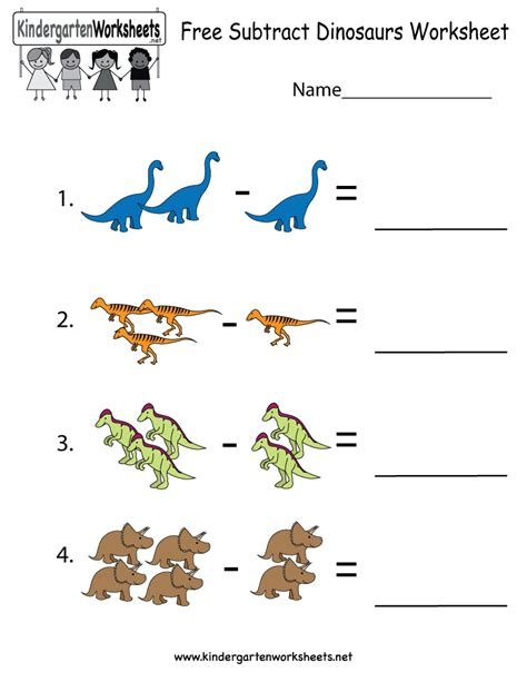 free printable subtract dinosaurs worksheet for kindergarten