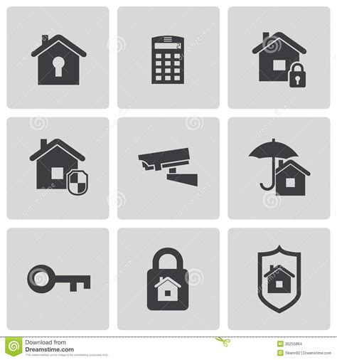 vector black home security icons set stock images image