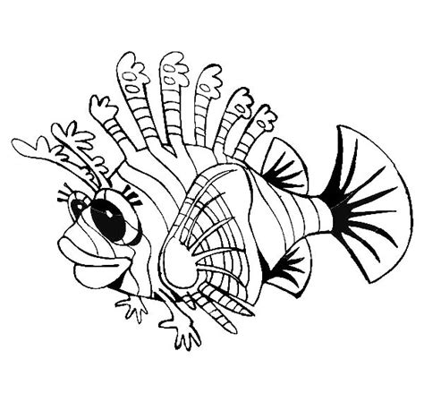 Lionfish Swim Near Coral Reef Coloring Pages Batch Coloring Lionfish Coloring Page