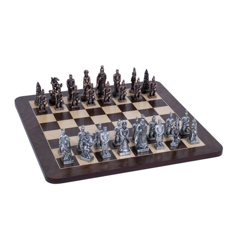 chess set pieces chinese qin chess set pewter pieces walnut root board 16 in wood expressions