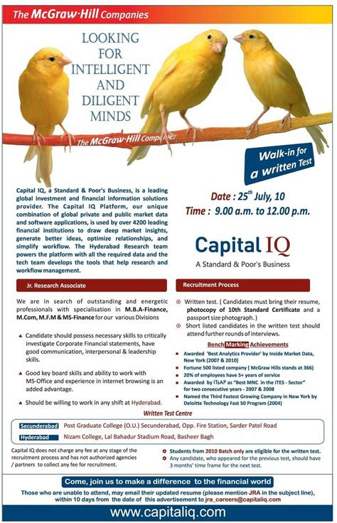 Capital Iq Questions For Mba Finance Freshers by Placements In India Walk Ins In Capital Iq M M
