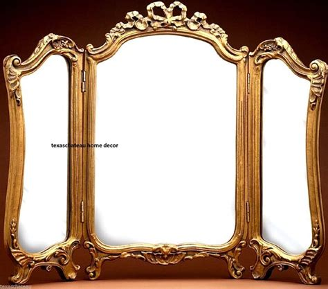 vintage table top mirror ornate arch gold gilt 3 panel vanity mirror antique