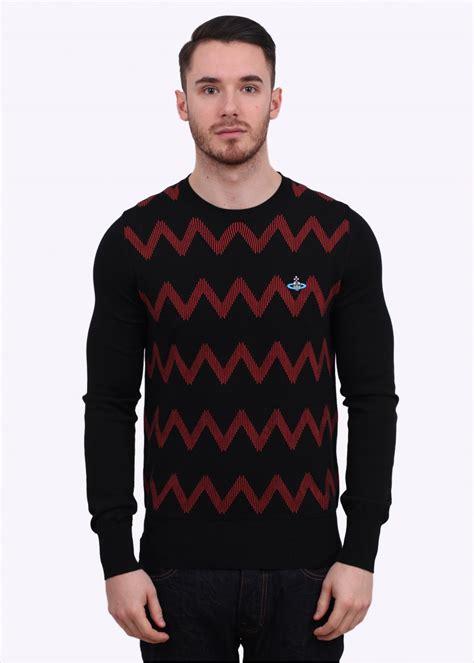 zigzag pattern sweater mens vivienne westwood zig zag pattern crew sweater black red