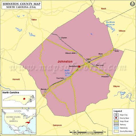 map of carolina usa johnston county map carolina