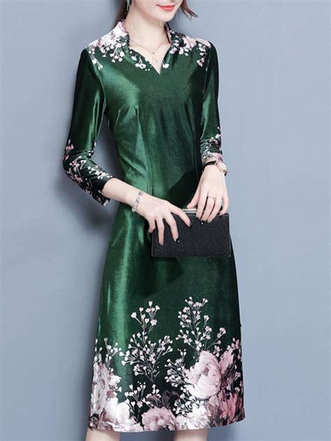 floral printed stand collar 3 4 sleeve slim