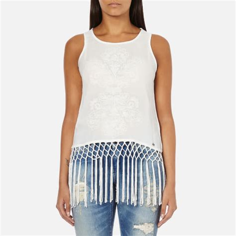 Fringed Tank Top superdry s vintage fringed tank top white
