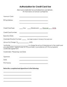 Authorization Letter Travel Using Credit Card authorization for credit card use free authorization forms